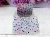 Фатиновая лента с разноцветными звездочками цв. серый 60мм.