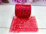 Фатиновая лента с разноцветными звездочками цв. красный 60мм.