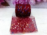 Фатиновая лента с разноцветными звездочками цв. бордовый 60мм.
