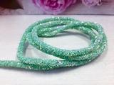 Декоративный силиконовый шнур с пайетками цв. мятный 6 мм. отверстие - 2мм.(0,5м.)