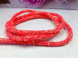 Декоративный силиконовый шнур с пайетками цв. коралловый 6 мм. отверстие - 2мм.(0,5м.)