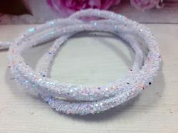 Декоративный силиконовый шнур с пайетками цв. белый с розовым перламутром 6 мм. отверстие - 2мм.(0,5м.)