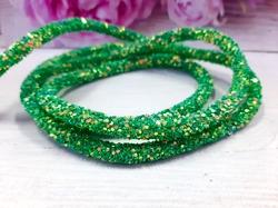 Декоративный силиконовый шнур с пайетками цв. зеленый 6 мм. отверстие - 2мм.(0,5м.)