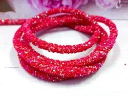 Декоративный силиконовый шнур с пайетками цв. красный 6 мм. отверстие - 2мм.(0,5м.)