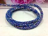 Декоративный силиконовый шнур с пайетками цв. синий 6 мм. отверстие - 2мм.(0,5м.)