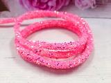 Декоративный силиконовый шнур с пайетками цв. розовый 6 мм. отверстие - 2мм.(0,5м.)