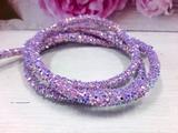 Декоративный силиконовый шнур с пайетками цв. светло-фиолетовый 6 мм. отверстие - 2мм.(0,5м.)