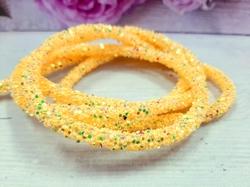 Декоративный силиконовый шнур с пайетками цв. желтый 6 мм. отверстие - 2мм.(0,5м.)