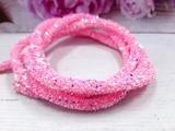 Декоративный силиконовый шнур с пайетками цв. светло-розовый 6 мм. отверстие - 2мм.(0,5м.)