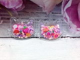 Патч Китти с наполнением звездочки+фрукты цв. розовый перламутр 25х32 мм.