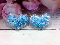 Патч сердце с наполнением цв. голубой перламутр 40х30 мм.