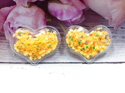 Патч сердце с наполнением цв. желтый перламутр 40х30 мм.