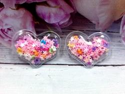 Патч сердце с наполнением звездочки+цветочки цв. розовый перламутр 40х30 мм.