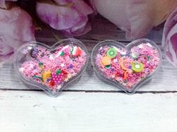 Патч сердце с наполнением цв. розовый+фрукты перламутр 40х30 мм.