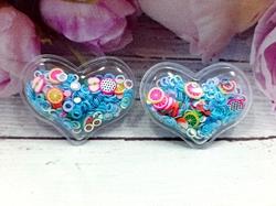 Патч сердце с наполнением кружочки+фрукты цв. голубой перламутр 40х30 мм.