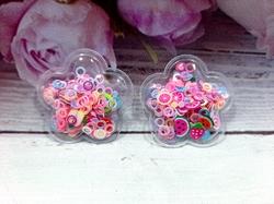 Патч цветок с наполнением кружочки+фрукты цв. розовый перламутр 32х32 мм.