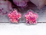 Патч цветок с наполнением звездочки цв. ярко-розовый перламутр 32х32 мм.