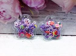 Патч цветок с наполнением кружочки+фрукты цв. фиолетовый перламутр 32х32 мм.
