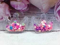 Патч корона с наполнением звездочки+цветочки цв. розовый перламутр 30х40 мм.