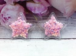 Патч звезда с наполнением цв. светло-розовый перламутр 40 мм.