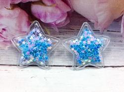 Патч звезда с наполнением цв. голубой перламутр 40 мм.