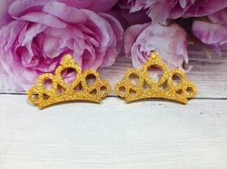 """Патч с глиттером """"корона"""" цв. золото 30х45 мм."""
