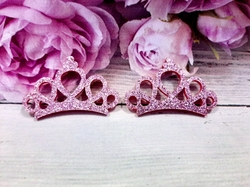 """Патч с глиттером """"корона"""" цв. розовый 30х45 мм."""