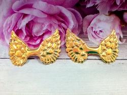 Крылья из кожзама цв. золото хамелеон 50х33 мм.