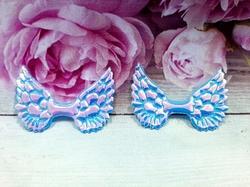 Крылья из кожзама цв. голубой хамелеон 50х33 мм.
