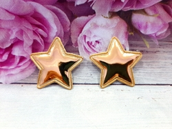 "Патч из глянцевого кожзама ""звезда"" цв. золото 35х35 мм."