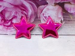 "Патч из глянцевого кожзама ""звезда"" цв. малиновый 35х35 мм."