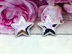 "Патч из глянцевого кожзама ""звезда"" цв. серебро 35х35 мм."