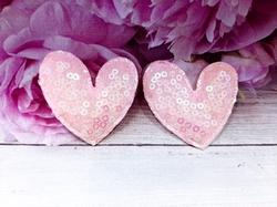 "Патч с пайетками ""сердце"" цв. розовый 45х50 мм."