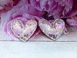 """Патч с пайетками """"сердце"""" цв. розовый-сиреневый-серебро 45х50 мм."""