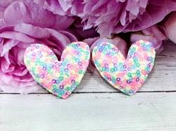 """Патч с пайетками """"сердце"""" цв. разноцветный 45х50 мм."""