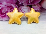 "Патч из кожзама ""звезда"" цв. желтый перламутр 45х45 мм."