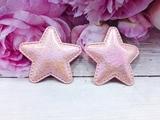 """Патч из кожзама """"звезда"""" цв. розовый перламутр 45х45 мм."""