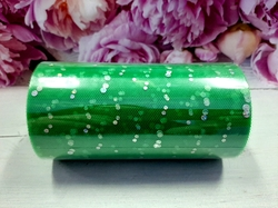 Фатин в шпульке с блестками цв. зеленый 12см х 25ярд.