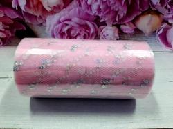 Фатин в шпульке с блестками цв. светло-розовый 12см х 25ярд.