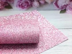 Искусственная кожа с глиттером смешанный цвет в розовом оттенке 20х30см.