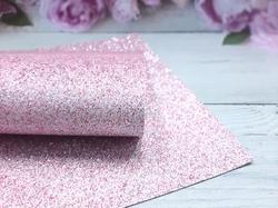 Искусственная кожа с глиттером смешанный цвет в светло-розовом оттенке 20х30см.