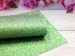 Искусственная кожа с глиттером смешанный цвет в зеленом оттенке 20х30см.
