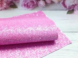 Искусственная кожа с глиттером и пайетками матовая цв. розовый 20х30см.