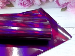 Искусственная кожа голографик цв. темно-фиолетовый 20х30см.