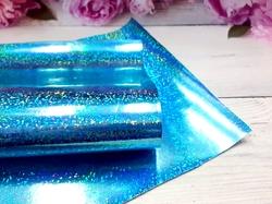 Искусственная кожа голографик имитация глиттера цв. голубой 20х30см.