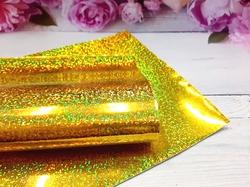 Искусственная кожа голографик имитация глиттера цв. золото 20х30см.