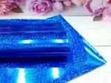 Искусственная кожа голографик имитация глиттера цв. синий 20х30см.