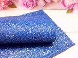 Искусственная кожа с глиттером и разноцветными пайетками матовая цв. синий 20х30см.