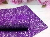 Искусственная кожа с глиттером и разноцветными пайетками матовая цв. темно-фиолетовый 20х30см.