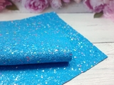 Искусственная кожа с глиттером и разноцветными пайетками матовая цв. голубой 20х30см.